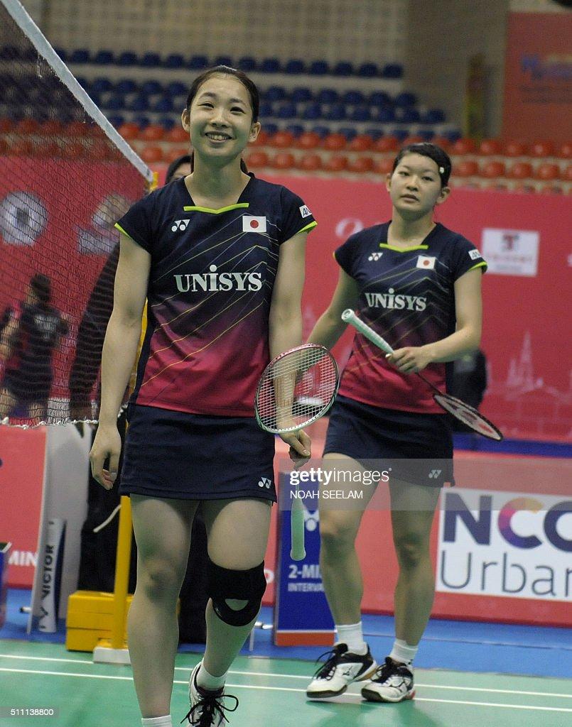Misaki Matsutomo L and Ayaka Takahashi of Japan celebrate their