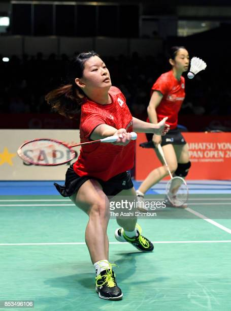 Misaki Matsutomo and Ayaka Takahashi of Japan compete in the Women's Doubles final against Kim Hana and Kong Heeyoung of South Korea during day six...