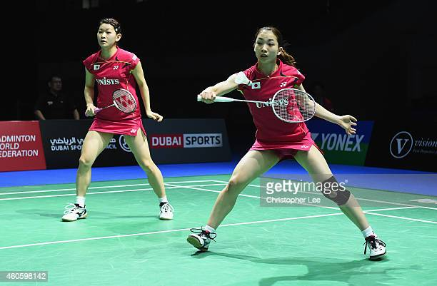 Misaki Matsutomo and Ayaka Takahashi of Japan in action against Christina Pedersen and Kamilla Rytter Juhl of Denmark in the Womens Doubles during...