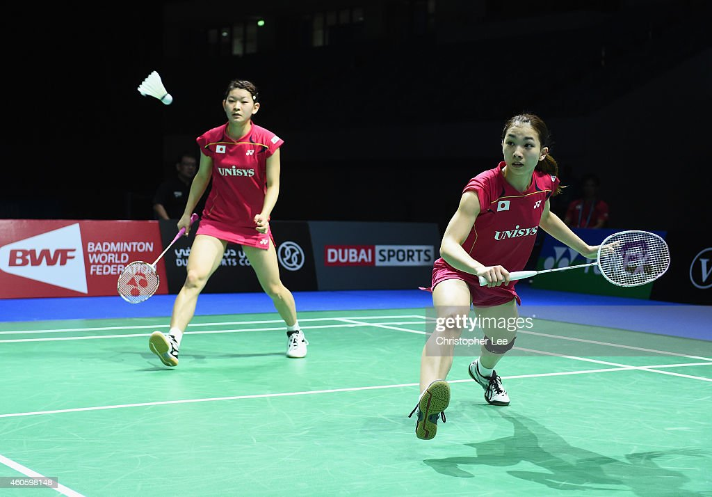 <a gi-track='captionPersonalityLinkClicked' href=/galleries/search?phrase=Misaki+Matsutomo&family=editorial&specificpeople=6831788 ng-click='$event.stopPropagation()'>Misaki Matsutomo</a> (R) and <a gi-track='captionPersonalityLinkClicked' href=/galleries/search?phrase=Ayaka+Takahashi&family=editorial&specificpeople=8671069 ng-click='$event.stopPropagation()'>Ayaka Takahashi</a> of Japan in action against Christina Pedersen and Kamilla Rytter Juhl of Denmark in the Womens Doubles during day one of the BWF Destination Dubai World Superseries Finals at the Hamdan Sports Complex on December 17, 2014 in Dubai, United Arab Emirates.