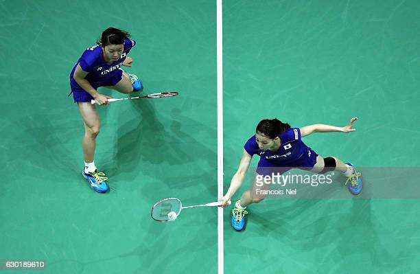 Misaki Matsutomo and Ayaka Takahashi of Japan in action against Chen Qingchen and Jia Yifan of China in the Final of the Women's Doubles on day five...