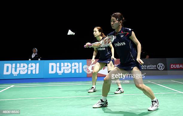 Misaki Matsutomo and Ayaka Takahashi of Japan in action against Jung Kyung Eun and Kim Ha Na of Korea during the Women's Doubles match on day two of...