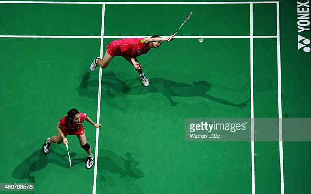 Misaki Matsutomo and Ayaka Takahashi of Japan in action against Luo Ying and Luo Yu of China during the Women's Doubles match on day four of the BWF...