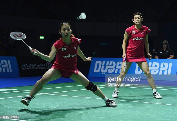 Misaki Matsutomo and Ayaka Takahashi of Japan in action against Luo Ying and Luo Yu of China in the Womens Doubles Semi Final during the BWF...