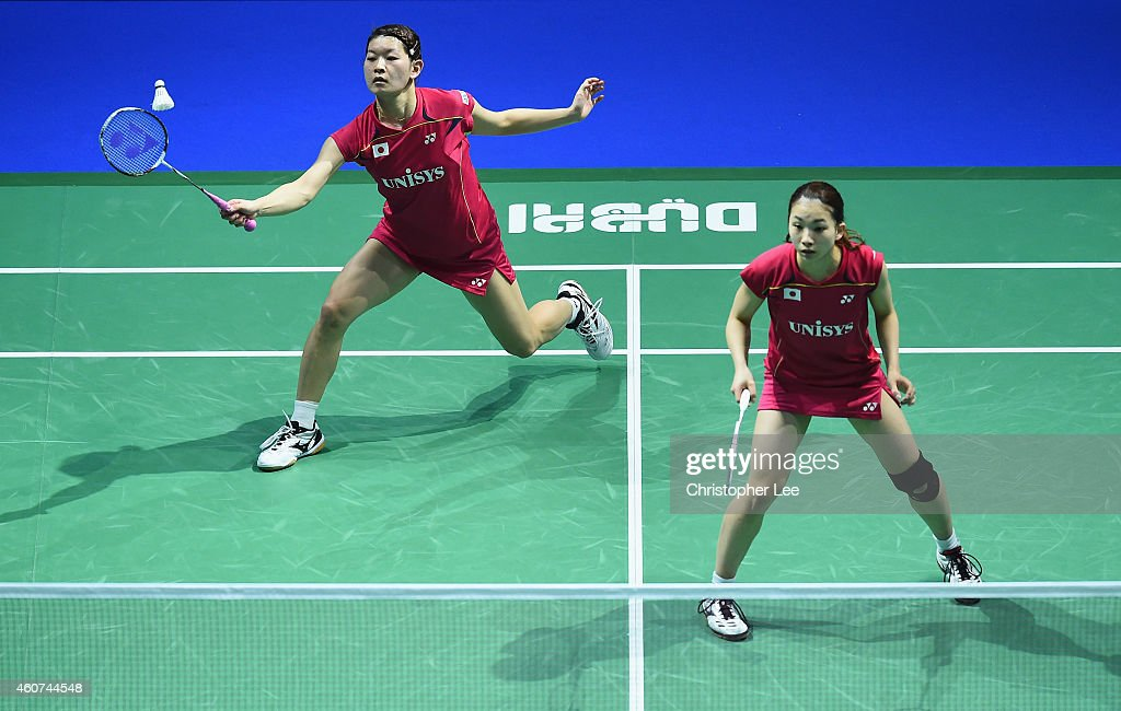 <a gi-track='captionPersonalityLinkClicked' href=/galleries/search?phrase=Misaki+Matsutomo&family=editorial&specificpeople=6831788 ng-click='$event.stopPropagation()'>Misaki Matsutomo</a> and <a gi-track='captionPersonalityLinkClicked' href=/galleries/search?phrase=Ayaka+Takahashi&family=editorial&specificpeople=8671069 ng-click='$event.stopPropagation()'>Ayaka Takahashi</a> (L) of Japan in action against Tian Qing and Zhao Yunlei of China in the Womens Doubles Final during day five of the BWF Destination Dubai World Superseries Finals at the Hamdan Sports Complex on December 21, 2014 in Dubai, United Arab Emirates.