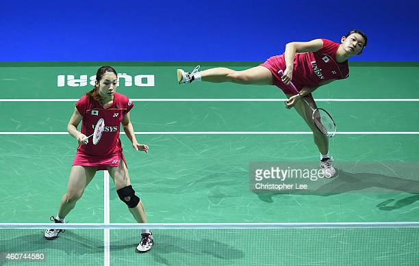 Misaki Matsutomo and Ayaka Takahashi of Japan in action against Tian Qing and Zhao Yunlei of China in the Womens Doubles Final during day five of the...
