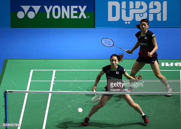 Misaki Matsutomo and Ayaka Takahashi of Japan in action against Ying Luo and Yu Luo of China in the Women's Doubles match during day three of the BWF...