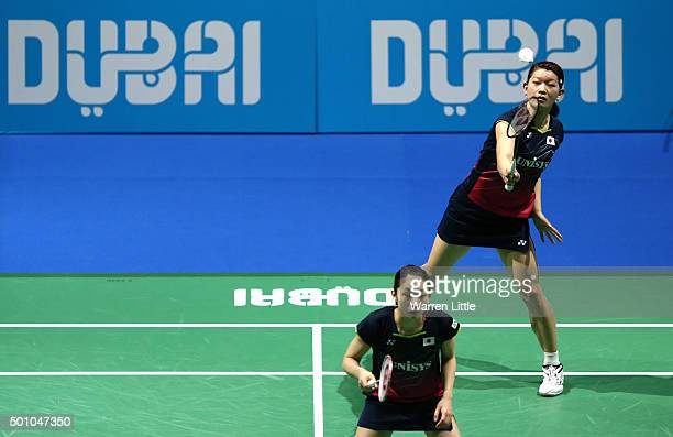 Misaki Matsutomo and Ayaka Takahashi of Japan in action against Ying Luo and Yu Luo of China in the Women's Semi Final match during day four of the...