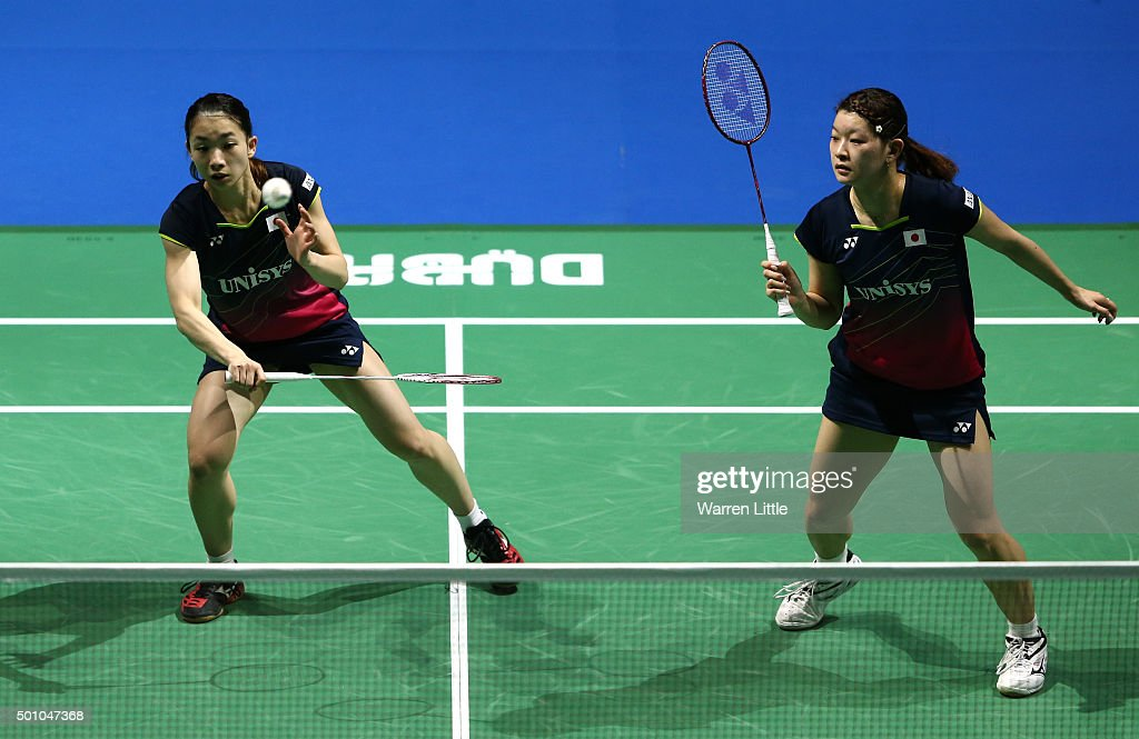 <a gi-track='captionPersonalityLinkClicked' href=/galleries/search?phrase=Misaki+Matsutomo&family=editorial&specificpeople=6831788 ng-click='$event.stopPropagation()'>Misaki Matsutomo</a> and <a gi-track='captionPersonalityLinkClicked' href=/galleries/search?phrase=Ayaka+Takahashi&family=editorial&specificpeople=8671069 ng-click='$event.stopPropagation()'>Ayaka Takahashi</a> of Japan in action against Ying Luo and Yu Luo of China in the Women's Semi Final match during day four of the BWF Dubai World Superseries 2015 Finals at the Hamdan Sports Complex on December 12, 2015 in Dubai, United Arab Emirates.