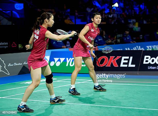Misaki Matsutomo and Ayaka Takahashi of Japan in action in the semifinals during the Yonex Denmark Open MetLife BWF World Superseries at Odense...