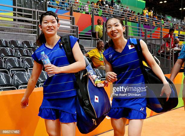Misaki Matsutomo and Ayaka Takahashi of Japan leave the court after their Doubles Semifinal match win over Kyung Eun Jung and Seung Chan of Korea on...
