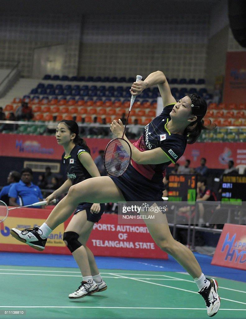 Misaki Matsutomo L and Ayaka Takahashi of Japan play against