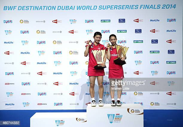 Misaki Matsutomo and Ayaka Takahashi of Japan poses after beating Tian Qing and Zhao Yunlei of China in the Final of the Womne's Doubles on day five...