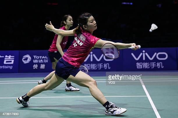 Misaki Matsutomo and Ayaka Takahashi of Japan return to Chang Ye Na and Jung Kyung Eun of Korea during Women's Doubles match in the semifinals on day...