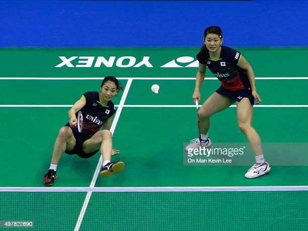 Misaki Matsutomo and Ayaka Takahashi of Japan returns a shot during the match between Misaki Matsutomo and Ayaka Takahashi of Japan and Tang Jinhua...