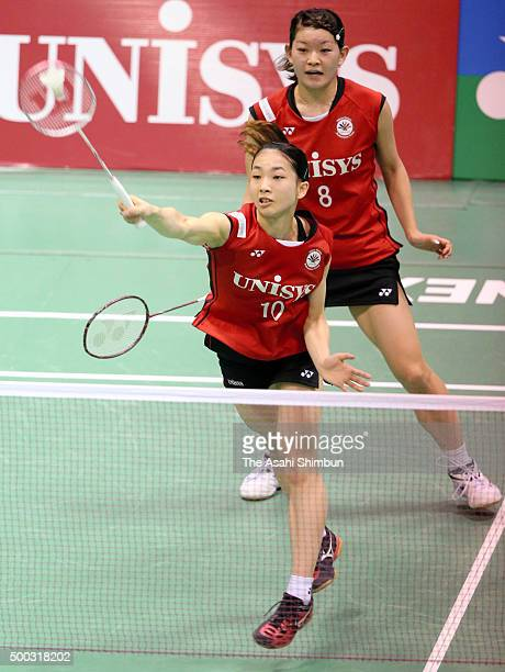 Misaki Matsutomo and Reika Takahashi compete in the Women's Doubles semi final during day five of the All Japan Badminton Championships at Yoyogi...