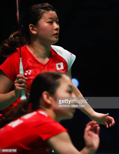 Misaki Matsutomo of Japan and partner Ayaka Takahashi of Japan play during the women's doubles Sudirman Cup match against Vivian Hoo and Woon Khe Wei...