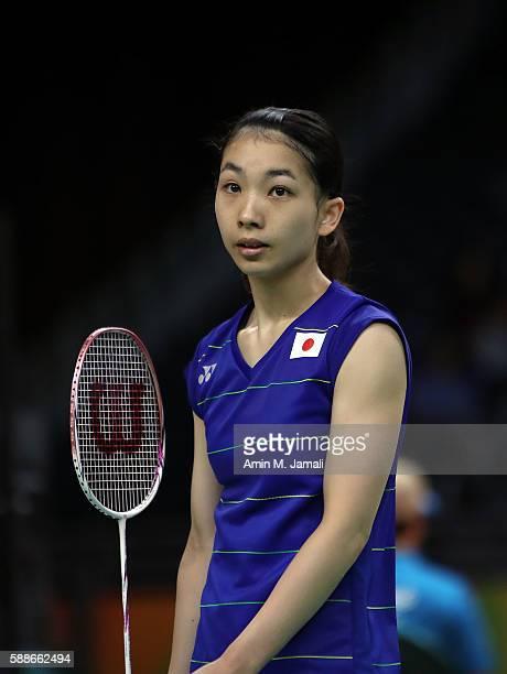 Misaki Matsutomo of Japan competes against Sapsiree Taerattanachai and Puttita Supajirakul of Thailand in the badminton Women's Double on Day 7 of...