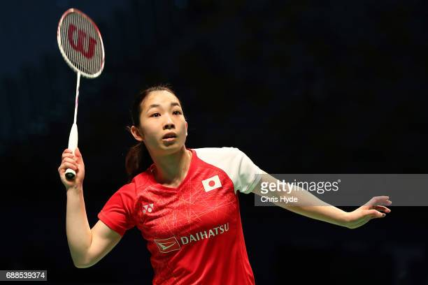 Misaki Matsutomo of Japan competes in her Quarter Final partnered with Ayaka Takahashi against Vivian Hoo and Woon Khe Wei of Malaysia during the...