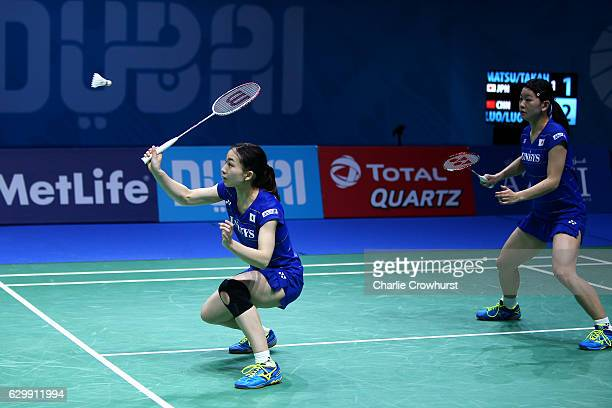Misaki Matsutomo of Japan in action during the womens doubles match against Luo Ying and Luo Yu of China on Day Two of the BWF Dubai World...