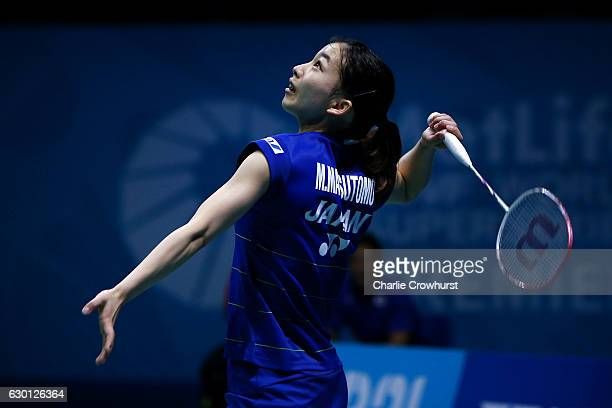 Misaki Matsutomo of Japan in action during the women's doubles semi final match against Kamilla Rytter Juhl and Christinna Pedersen of Denmark on Day...