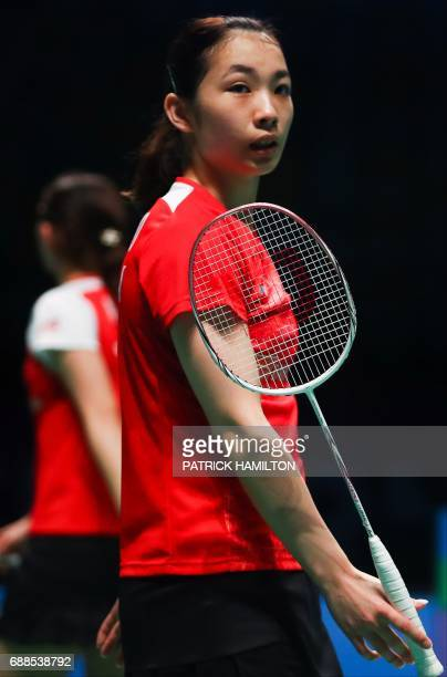 Misaki Matsutomo of Japan reacts during the women's doubles Sudirman Cup match with partner Ayaka Takahashi against Vivian Hoo and Woon Khe Wei of...