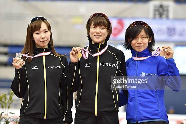 Misaki Oshigiri Ayaka Kikuchi and Miho Takagi of Japan pose with medals after the Women's 5000m during the 83rd All Japan Speed Skating Championships...