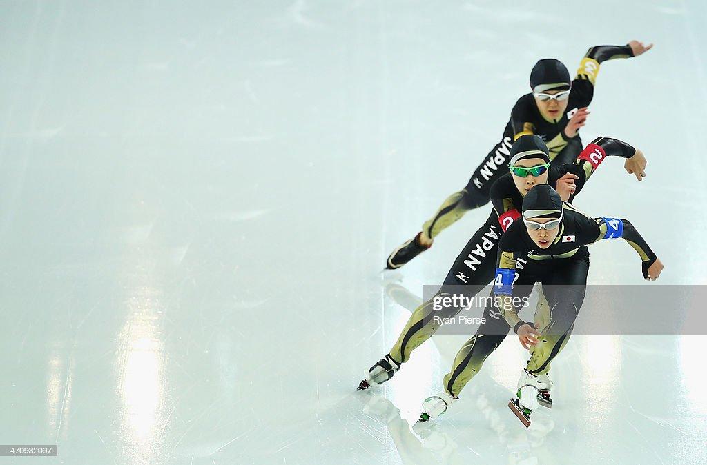 Misaki Oshigiri, Maki Tabata and Nana Takagi of Japan compete during the Women's Team Pursuit Quarterfinals Speed Skating event on day fourteen of the Sochi 2014 Winter Olympics at Adler Arena Skating Center on February 21, 2014 in Sochi, Russia.