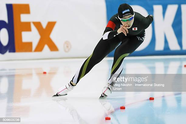 Misaki Oshigiri of Japan compete in the Ladies 3000 meters race during day 1 of the ISU World Single Distances Speed Skating Championships held at...
