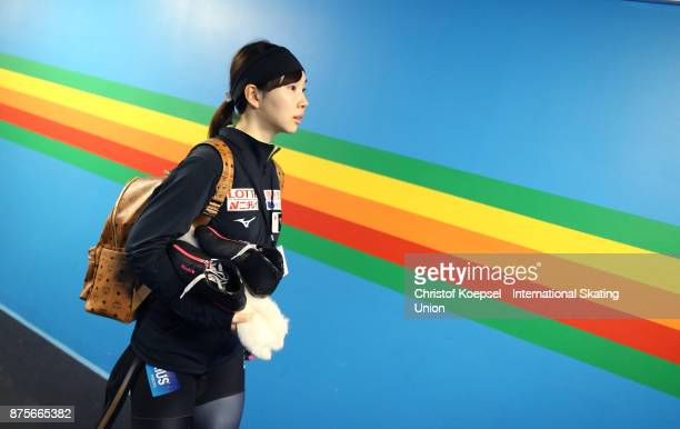 Misaki Oshigiri of Japan prepares during Day 2 of the ISU World Cup Speed Skating at Soermarka Arena on November 18 2017 in Stavanger Norway