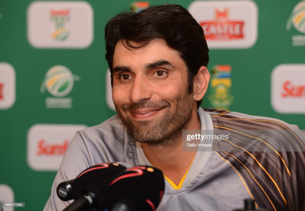 Misbah ul-Haq, the Pakistan captain, attends the South African National cricket team press conference at Sandton Sun Hotel on January 31, 2013 in Johannesburg, South Africa.