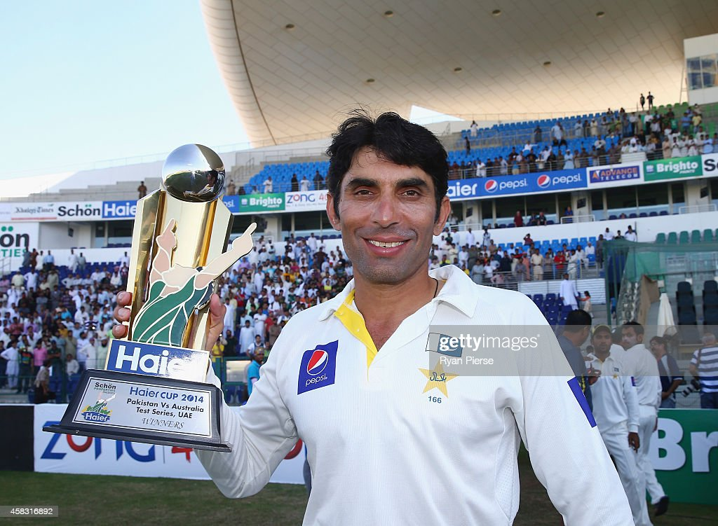Misbah-ul Haq of Pakistan celebrates with the trophy after Pakistan won the series 2-0 during Day Five of the Second Test between Pakistan and Australia at Sheikh Zayed Stadium on November 3, 2014 in Abu Dhabi, United Arab Emirates.