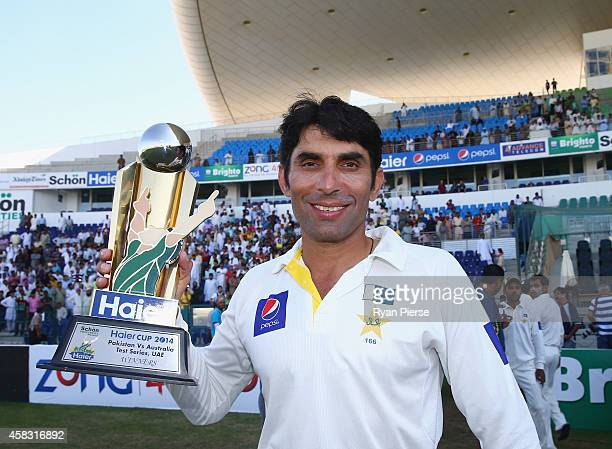Misbahul Haq of Pakistan celebrates with the trophy after Pakistan won the series 20 during Day Five of the Second Test between Pakistan and...