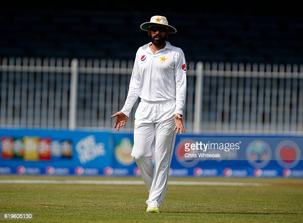 MisbahulHaq captain of Pakistan on day three of the third test between Pakistan and West Indies at Sharjah Cricket Stadium on November 1 2016 in...