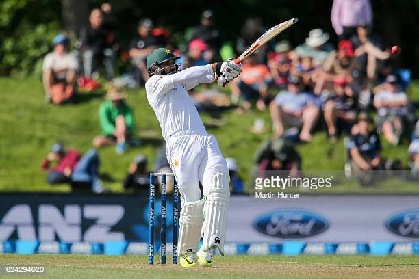 MisbahulHaq of Pakistan bats during day three of the First Test between New Zealand and Pakistan at Hagley Oval on November 19 2016 in Christchurch...
