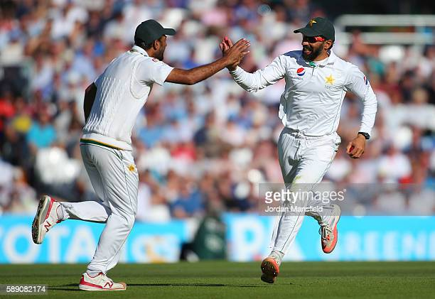 MisbahulHaq of Pakistan celebrates catching out James Wince of England during day three of the 4th Investec Test between England and Pakistan at The...