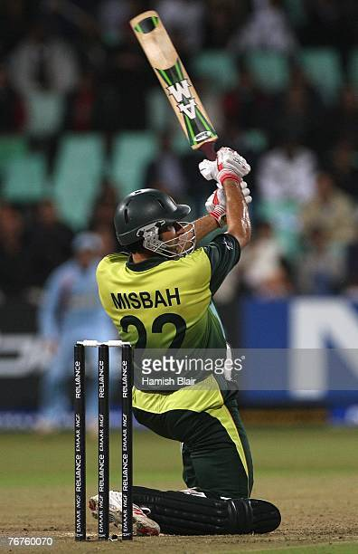 MisbahulHaq of Pakistan drives over cover for four during the ICC Twenty20 Cricket World Championship match between India and Pakistan at Kingsmead...
