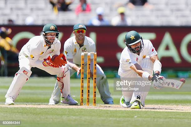 MisbahulHaq of Pakistan is caught by Nic Maddinson of Australia from this sweep shot off Nathan Lyon of Australia during day five of the Second Test...