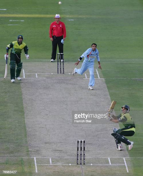 MisbahulHaq of Pakistan plays a shot to be caught to give victory to India during the Twenty20 Championship Final match between Pakistan and India at...