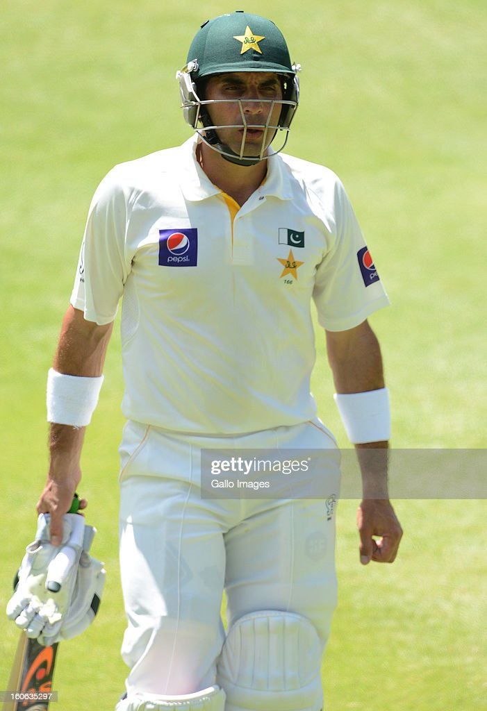 Misbah-ul-Haq of Pakistan walks off for 64 runs during day 4 of the 1st Test match between South Africa and Pakistan at Bidvest Wanderers Stadium on February 4, 2013 in Johannesburg, South Africa.