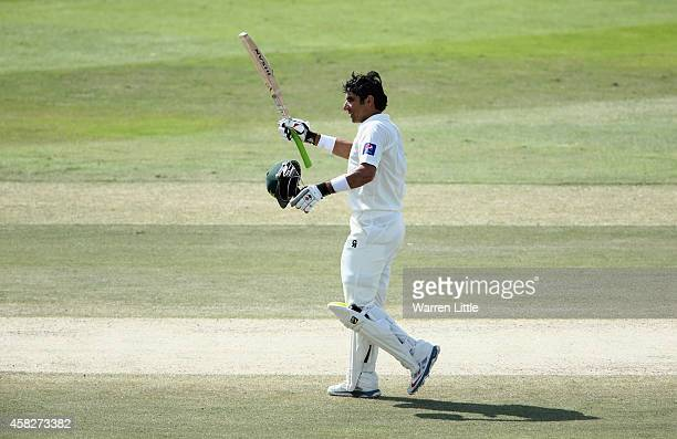 MisbahulHaq Pakistan Captain celebrates equalling the fastest ever test century during Day Four of the Second Test between Pakistan and Australia at...