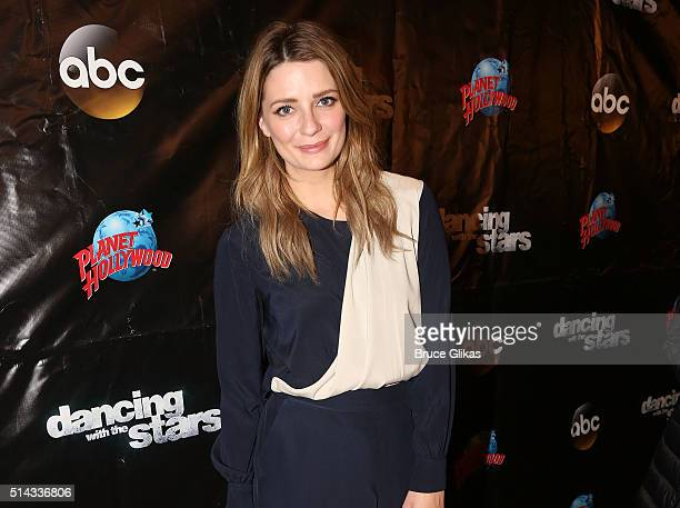 Mischa Barton poses at the 22nd Season Stars of ABC's 'Dancing With The Stars' cast announcement at Planet Hollywood Times Square on March 8 2016 in...