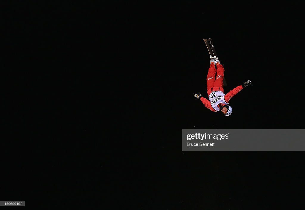 Mischa Gasser #36 of Switzerland jumps in the USANA Freestyle World Cup aerial competition at the Lake Placid Olympic Jumping Complex on January 18, 2013 in Lake Placid, New York.