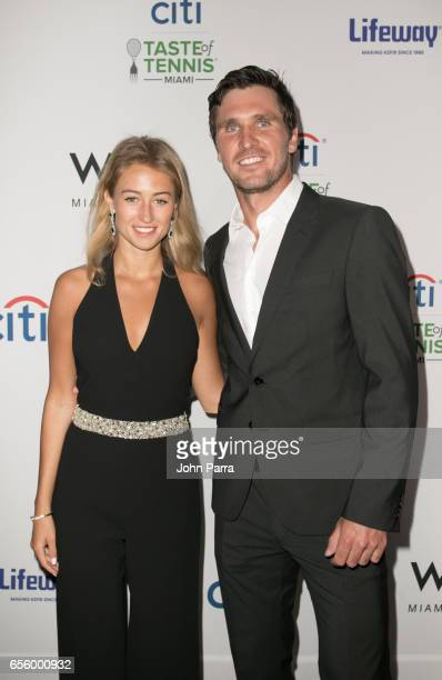 Mischa Zverev and guest arrive at the Citi Taste Of Tennis Miami at W Hotel on March 20 2017 in Miami Florida