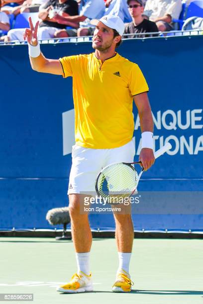Mischa Zverev arguing with the chair judge about a play during his second round match at ATP Coupe Rogers on August 9 at Uniprix Stadium in Montreal...