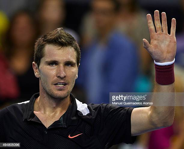 Mischa Zverev of Germany celebrates after defeating Fabio Fognini of Italy during day fourth of the ATP World Tour Valencia Open tennis tournament at...
