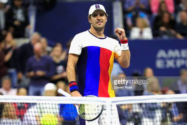 Mischa Zverev of Germany celebrates after defeating John Isner of the United States during their third round match on Day Five of the 2017 US Open at...