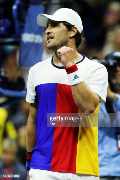 Mischa Zverev of Germany celebrates defeating John Isner of the United States during their third round match on Day Five of the 2017 US Open at the...