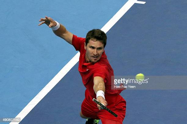 Mischa Zverev of Germany competes against Feliciano Lopez of Spain during the 2015 ATP Malaysian Open at Bukit Jalil National Stadium on October 1...