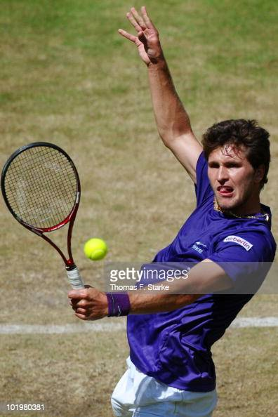Mischa Zverev of Germany in action during his quarter final match against Benjamin Becker of Germany during the Gerry Weber Open at the Gerry Weber...